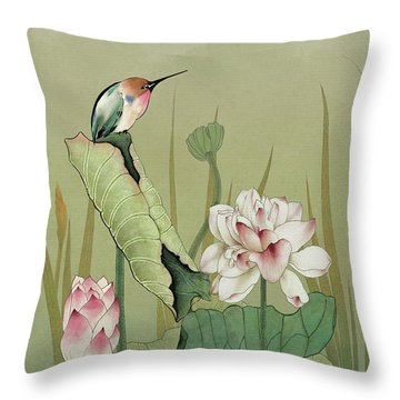 Lotus Flower And Hummingbird Throw Pillow