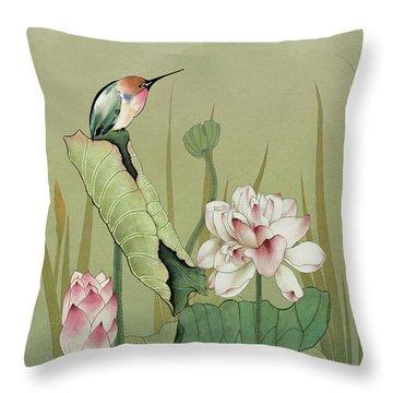 Lotus Flower And Hummingbird Throw Pillow