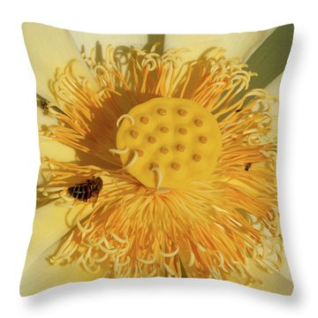 Lotus Flower Throw Pillow by Carolyn Dalessandro