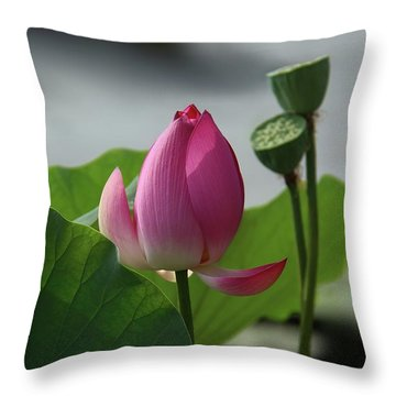 Lotus Flower In Pure Magenta Throw Pillow
