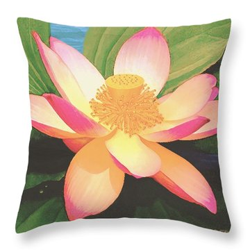 Throw Pillow featuring the painting Lotus Flower by Sophia Schmierer