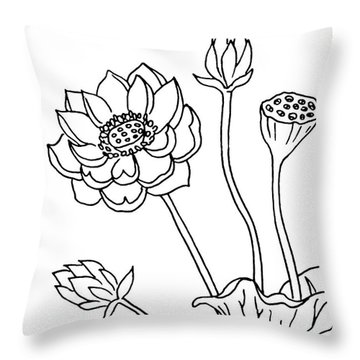 Lotus Flowers Drawing  Throw Pillow