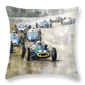1961 Germany Gp  #7 Lotus Climax Stirling Moss Winner  Throw Pillow