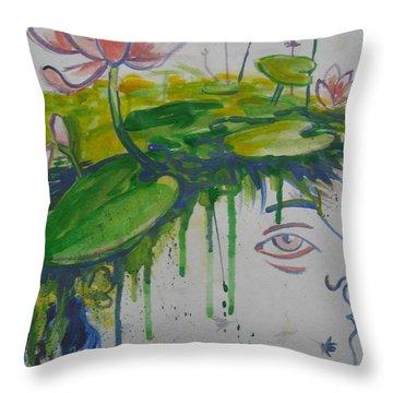 Lotus Head Throw Pillow