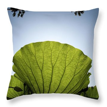 Throw Pillow featuring the photograph Lotus Leaf by Harry Spitz