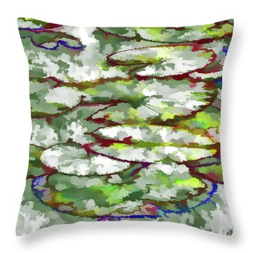Lotus Leaves Throw Pillow by Lanjee Chee