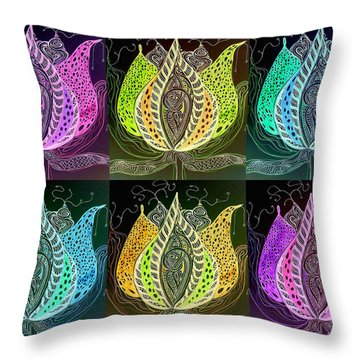 Throw Pillow featuring the digital art Lotus by Mary Schiros
