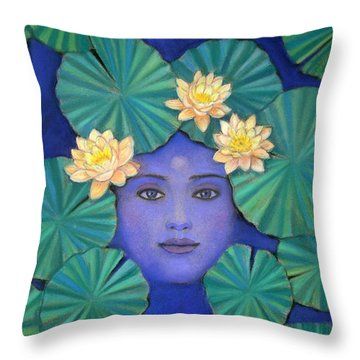 Throw Pillow featuring the painting Lotus Nature by Sue Halstenberg