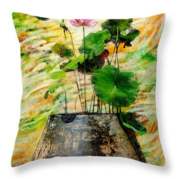 Lotus Tree In Big Jar Throw Pillow