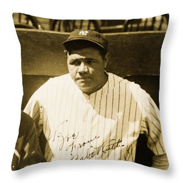 Lou Gehrig And Babe Ruth New York Yankees 1927 Throw Pillow