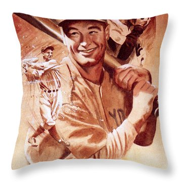 Lou Gehrig Throw Pillow by Ken Meyer jr