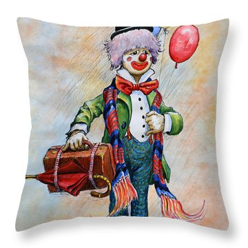 Lou The Clown Throw Pillow