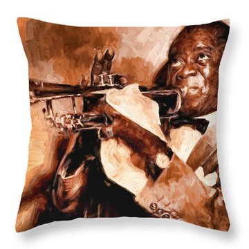 Louis Armstrong Throw Pillow by Louis Ferreira