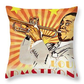 Louis Armstrong Pop Art Throw Pillow