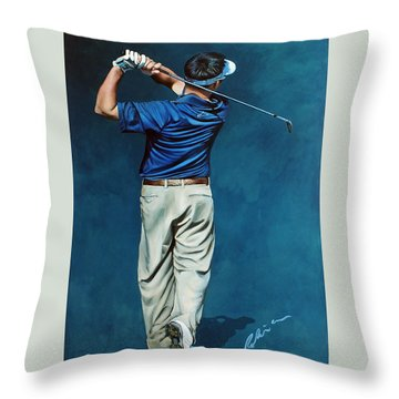Louis Osthuizen Open Champion 2010 Throw Pillow by Mark Robinson