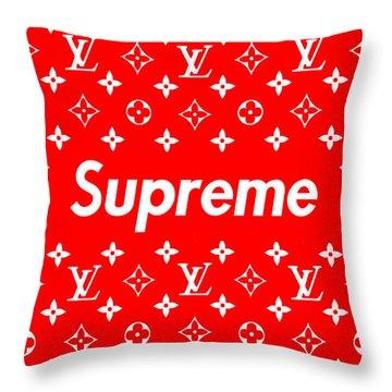 Louis Vuitton X Supreme Throw Pillow