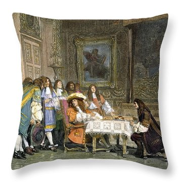 Louis Xiv & Moliere Throw Pillow by Granger