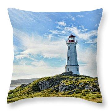 Louisbourg Nova Scotia  Lighthouse Throw Pillow