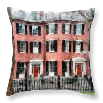Throw Pillow featuring the photograph Louisburg Square Beacon Hill Boston by Edward Fielding