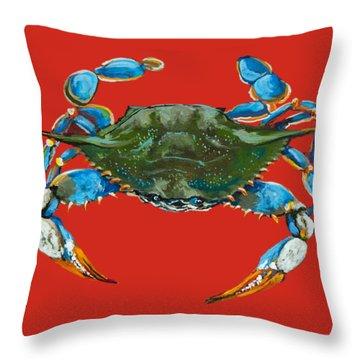 Louisiana Blue On Red Throw Pillow