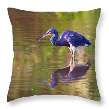 Louisiana Heron Throw Pillow by Marty Fancy