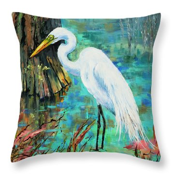 Louisiana Male Egret Throw Pillow by Dianne Parks