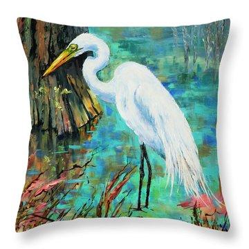 Louisiana Male Egret Throw Pillow