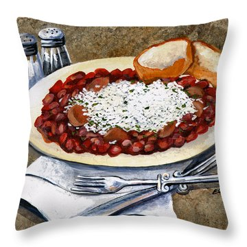 Louisiana Red Beans And Rice Throw Pillow by Elaine Hodges