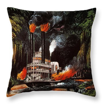 Louisiana: Steamboat, 1865 Throw Pillow by Granger