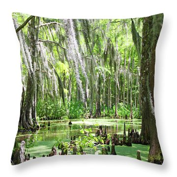 Louisiana Swamp Throw Pillow by Inspirational Photo Creations Audrey Woods