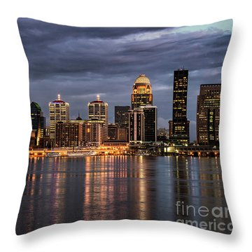 Throw Pillow featuring the photograph Louisville At Dusk by Andrea Silies
