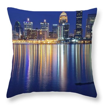 Louisville During Blue Hour Throw Pillow