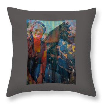 Loulou And Me Throw Pillow by Fania Simon