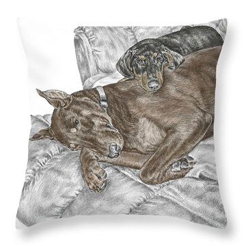 Throw Pillow featuring the drawing Lounge Lizards - Doberman Pinscher Puppy Print Color Tinted by Kelli Swan