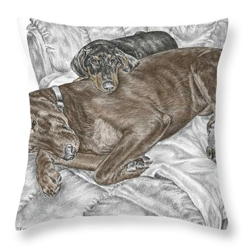 Lounge Lizards - Doberman Pinscher Puppy Print Color Tinted Throw Pillow