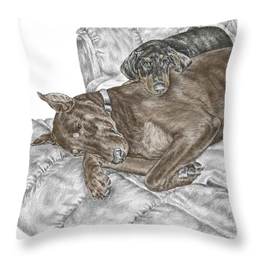 Lounge Lizards - Doberman Pinscher Puppy Print Color Tinted Throw Pillow