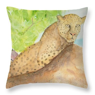 Throw Pillow featuring the painting Lounging Leopard by Vicki  Housel