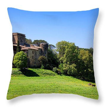 Lourmarin Castle Throw Pillow by Olivier Le Queinec