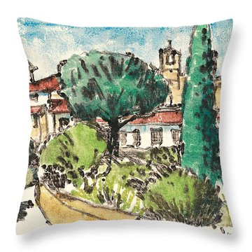 Throw Pillow featuring the painting Lourmarin Provence by Martin Stankewitz