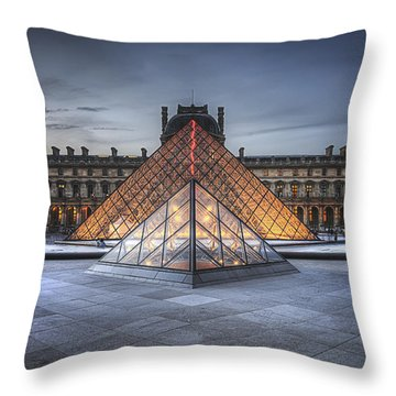 Louvre At Dusk Throw Pillow
