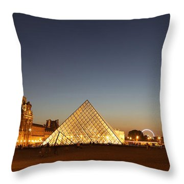 Throw Pillow featuring the photograph Louvre At Night 2 by Andrew Fare