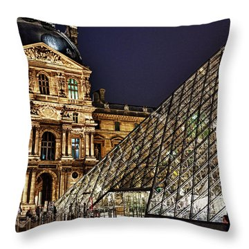 Louvre By Night I Throw Pillow
