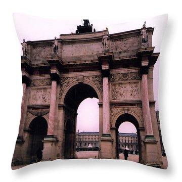 Throw Pillow featuring the photograph Louvre Museum Entrance Courtyard Arc De Triomphe Arch Landmark - Paris Louvre Museum Architecture by Kathy Fornal
