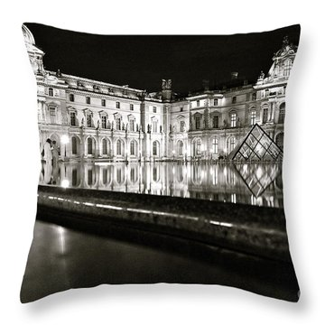 Throw Pillow featuring the photograph Louvre Reflections by Danica Radman