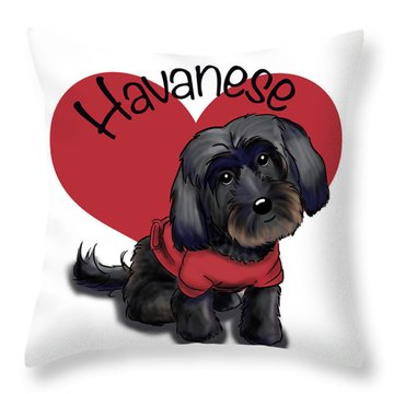 Lovable Black Havanese Throw Pillow by Catia Cho