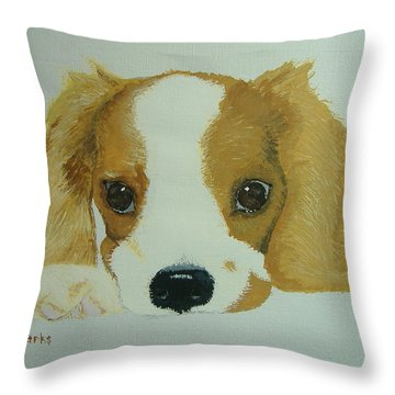 Throw Pillow featuring the painting Lovable Puppy by Norm Starks