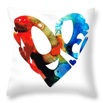 Love 8 - Heart Hearts Romantic Art Throw Pillow by Sharon Cummings