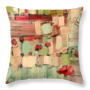 Throw Pillow featuring the mixed media Love Abstract by Carrie Joy Byrnes