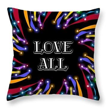Love All Twinkling Rainbow Throw Pillow
