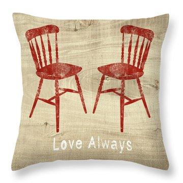 Love Always Red Chairs- Art By Linda Woods Throw Pillow